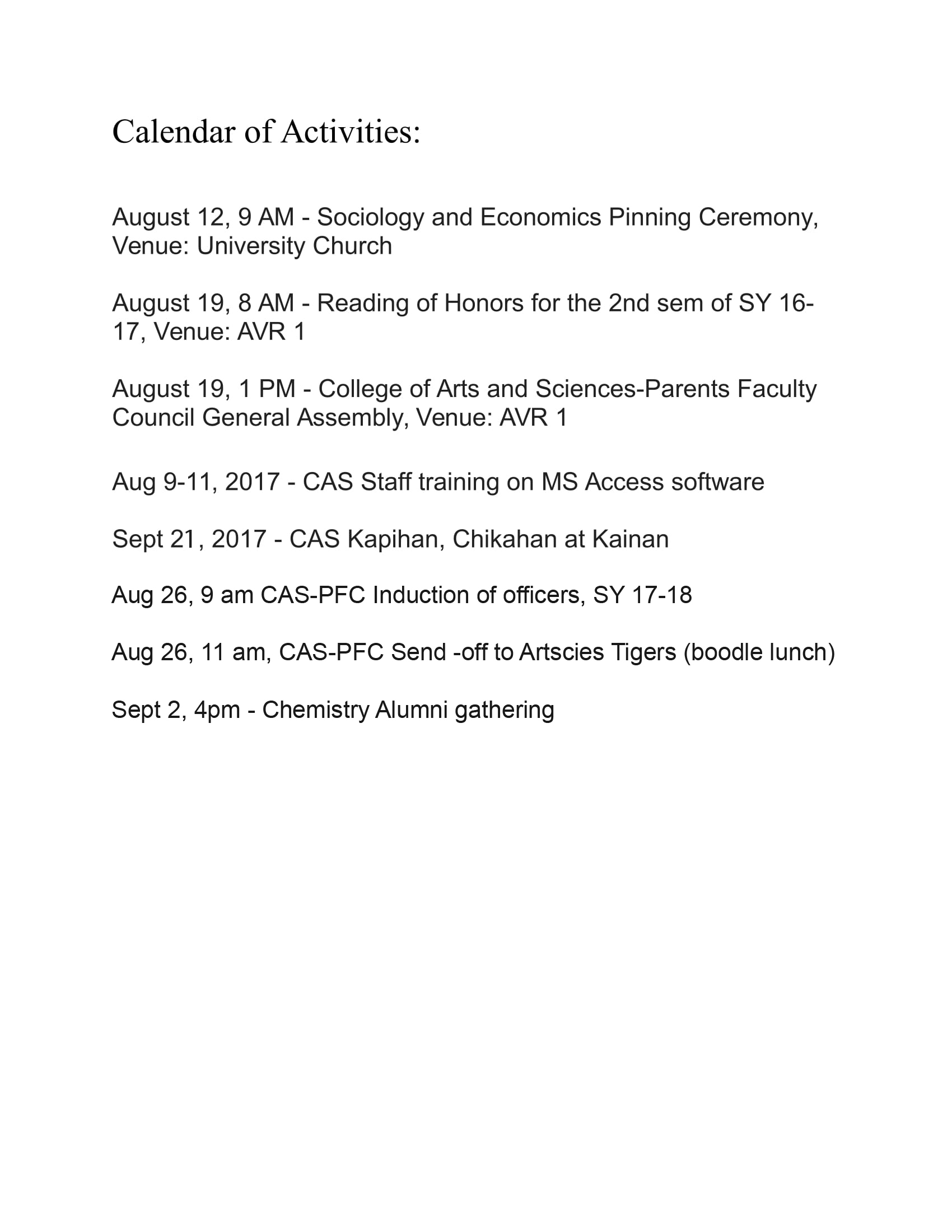 CAS Calendar of Activities 20177777