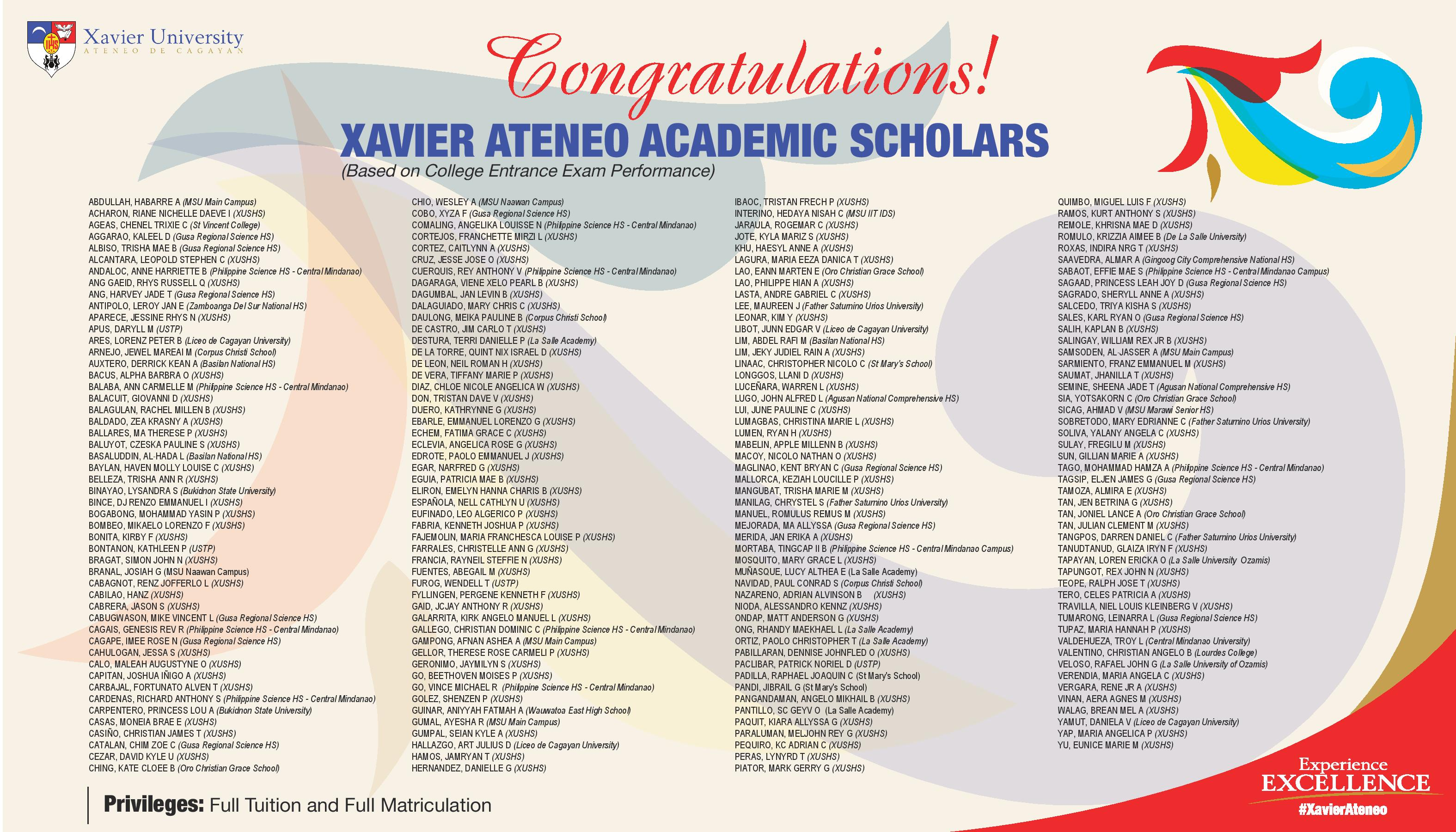 Xavier University - Xavier Ateneo Academic Scholars (AY2018