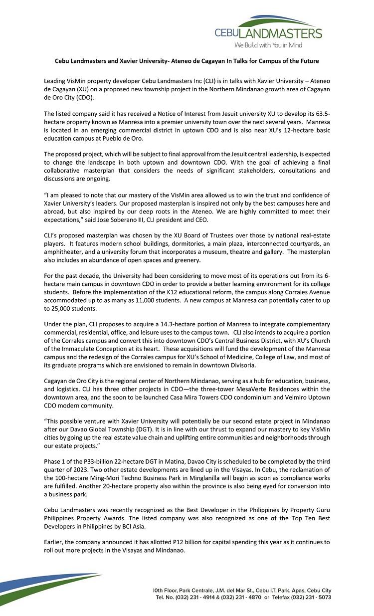 Xavier University - Cebu Landmasters, Xavier Ateneo in talks for