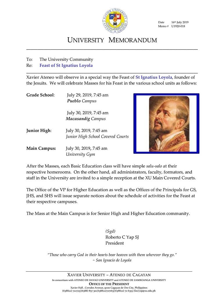 Xavier University - Memo #U1920-018 — Feast of St Ignatius