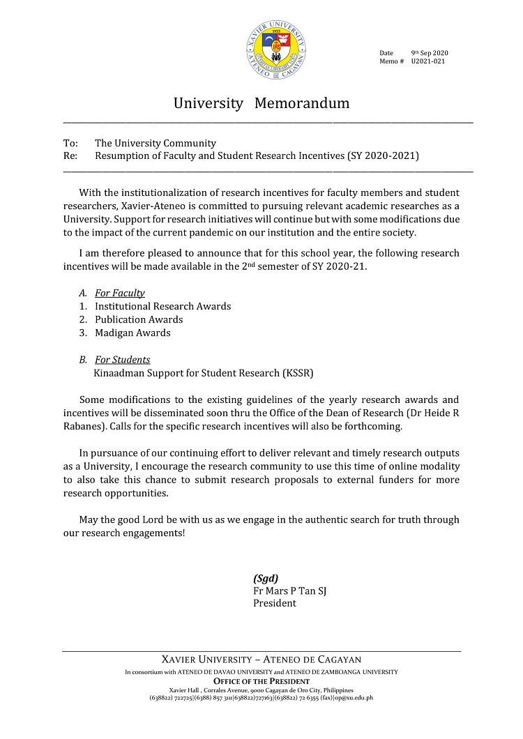 U2021 021 200909 Resumption of Faculty and Students Research Incentives 2020 2021 1 Copy