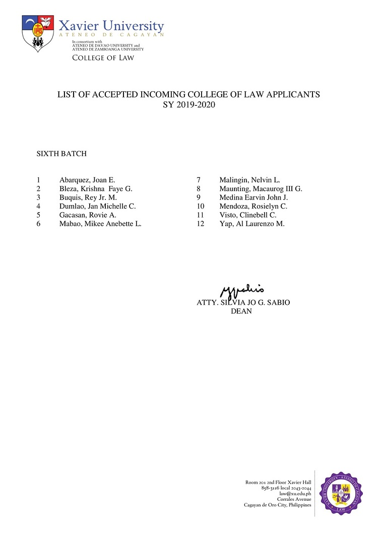 2019 2020 List of Accepted Incoming College of Law Applicants 6th Sixth Batch 1