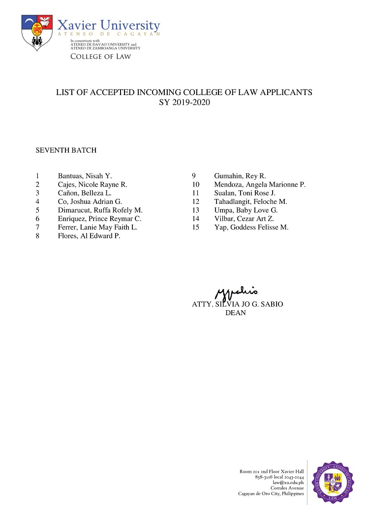 2019 2020 List of Accepted Incoming College of Law Applicants 7th Seventh Batch 1