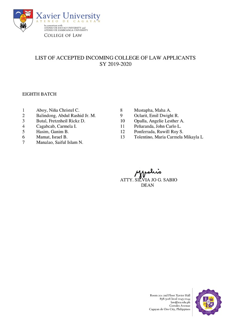 2019 2020 List of Accepted Incoming College of Law Applicants 8th Eighth Batch 1