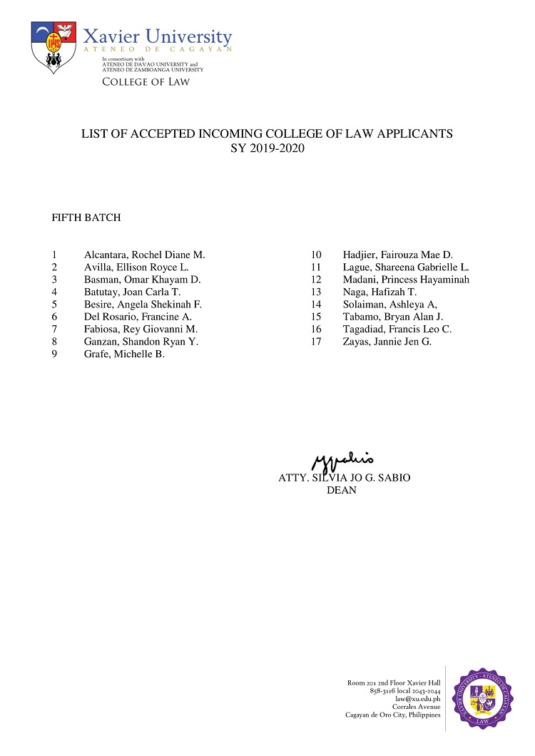 2019 2020 List of Accepted Incoming College of Law Applicants Fifth Batch 1