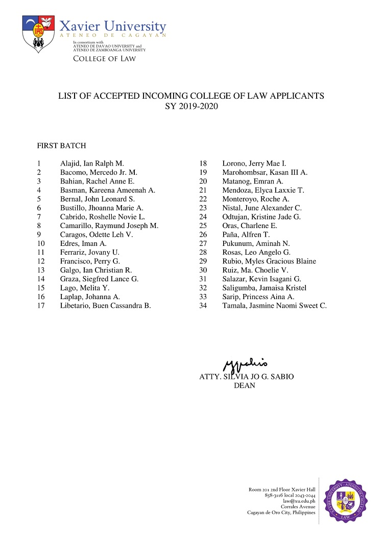 2019 2020 List of Accepted Incoming College of Law Applicants First Batch 1