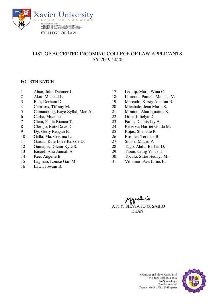 2019 2020 List of Accepted Incoming College of Law Applicants Fourth Batch 1