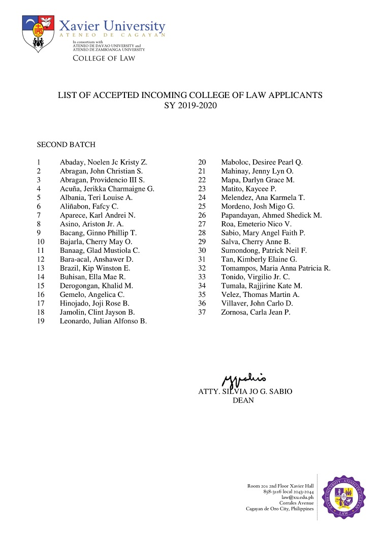 2019 2020 List of Accepted Incoming College of Law Applicants Second Batch 1