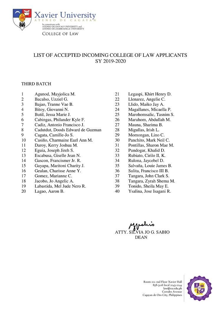 2019 2020 List of Accepted Incoming College of Law Applicants Third Batch 1
