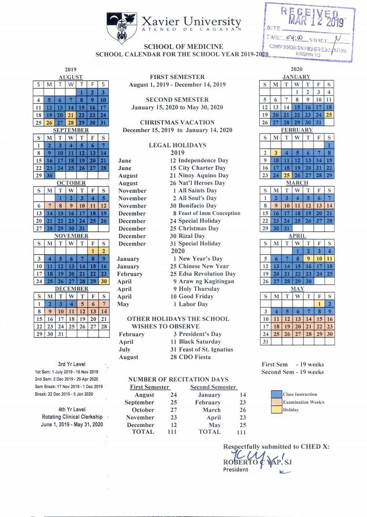 Xavier Calendar 2020 Xavier University   School of Medicine School Calendar SY 2019 2020